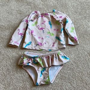 Two Piece Flamingo Bathing Suit 6-12